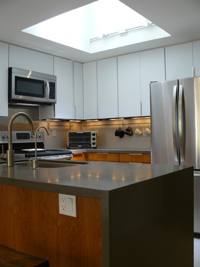 Bronze Quartz Waterfall Kitchen