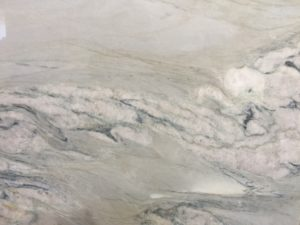 Aquarelle Premium (Brazil) This quartzite has the soothing look of a marble but the strength of granite. It is a mixture of white with aqua streaks. Premium mainly has white background. Please call us for pricing for material only and/or installation