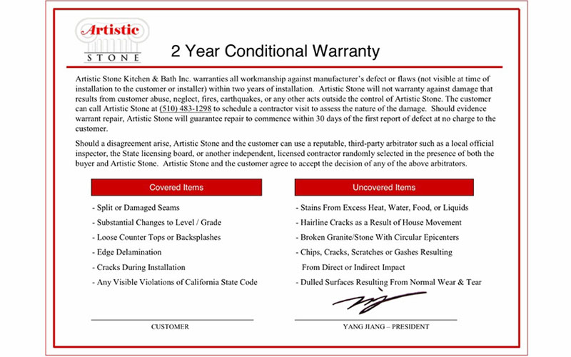 2 year conditional warranty